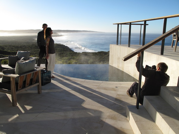 Adam Taylor shooting in the Southern Ocean Lodge, Kangaroo Island for DDB : Behind the scenes : fiona watson production